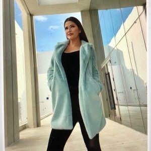 NEW Essue Teal Blue Plush Coat
